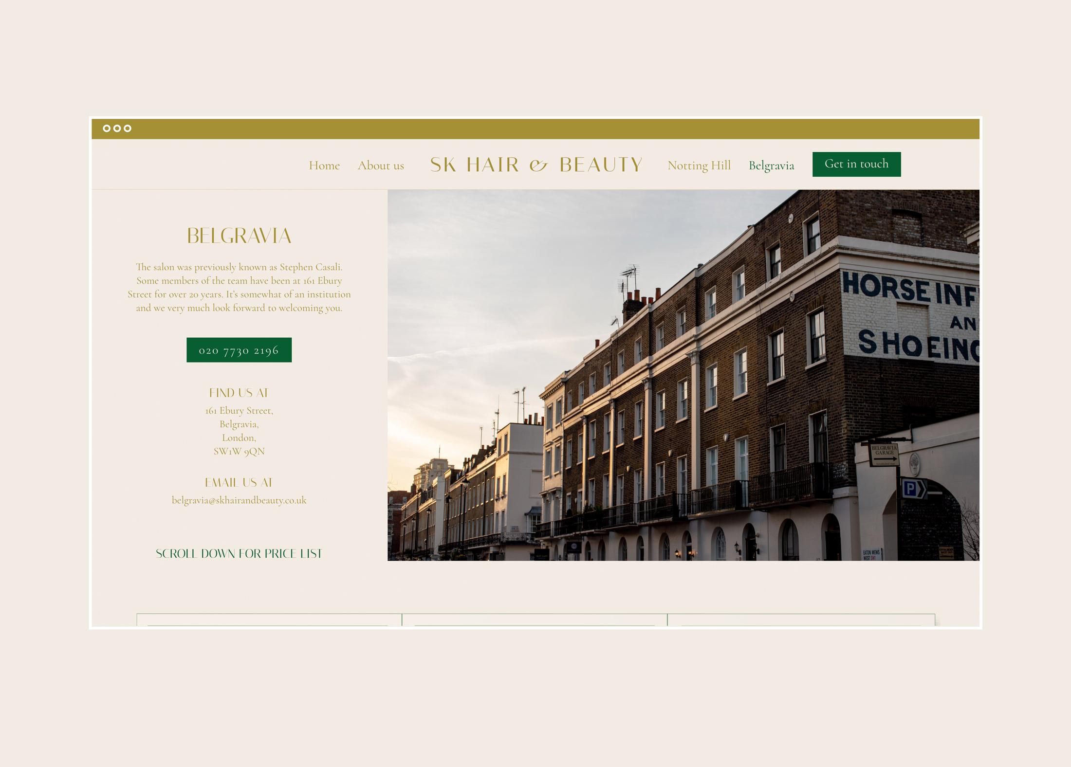 hair salon belgravia web page